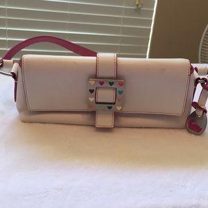 Super cute ivory leather D&B mini ivory & Pink EUC